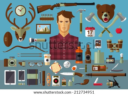 Flat modern design vector icons set of real man tools and equipment. Icon collection in stylish colors of gentleman things, stuff, goods, items, elements, objects. Hunter, fisherman, hipster workspace - stock vector