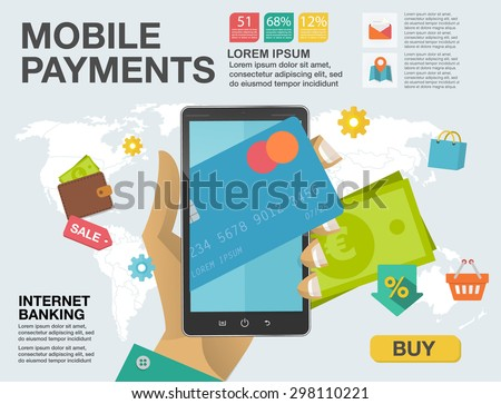 Flat modern design vector illustration concept for mobile apps. Set of Infographics. For finance, banking, online payment, online commerce. Use for website development and mobile phone services, apps - stock vector