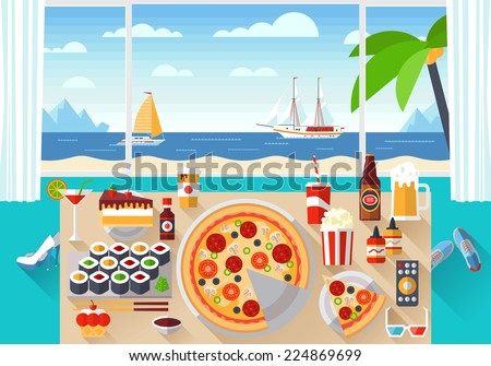 Flat modern design vector illustration concept of creative living room workspace, workplace with tasty food on the table. Items, essentials, things, equipment, elements, objects, tools - stock vector