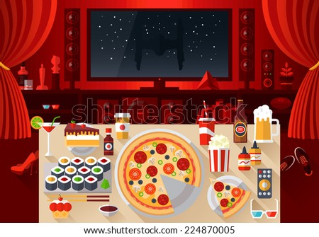 Flat modern design vector illustration concept of creative living room workspace, workplace with tasty food on the table. Watch movies. Items, essentials, things, equipment, elements, objects, tools - stock vector