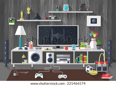 Flat Modern Design Vector Illustration Concept Of Creative Living Room Workspace Workplace With TV Set