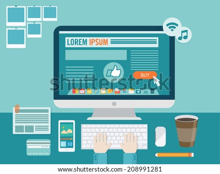 Flat modern design vector illustration concept of creative office workspace, workplace. Icon collection in stylish colors of business work flow items and elements, office things,equipment, objects - stock vector