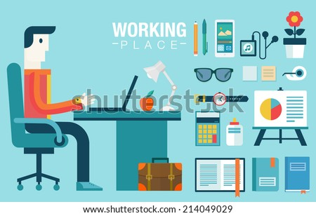 Flat modern design vector illustration concept of creative office workspace, workplace. Icon collection in stylish colors of business work flow items and elements, office things,equipment, objects. - stock vector