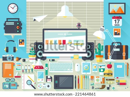 Flat modern design vector illustration concept of creative office workspace, workplace. Icon collection in stylish colors of business work, items, elements, office things, equipment, objects - stock vector