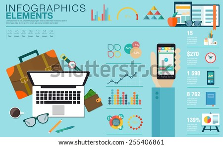 Flat modern design vector illustration concept of creative office workspace, workplace. Icon collection in stylish colors of business work flow items, elements. Infographics elements - stock vector