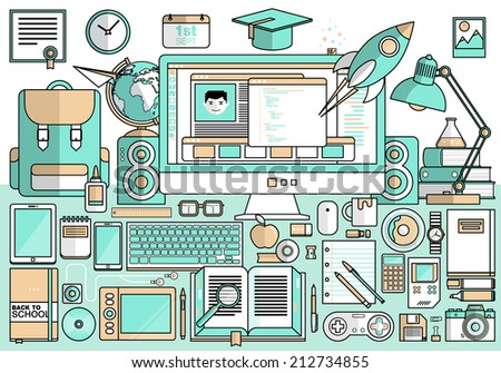 Flat modern design vector illustration concept of creative school desktop, workspace, workplace. Icon collection in stylish colors of education process, office items, tools, devices, elements, objects - stock vector