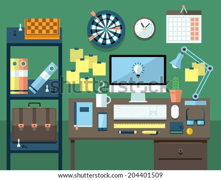 Flat modern design vector illustration concept of office workspace, workplace.  - stock vector