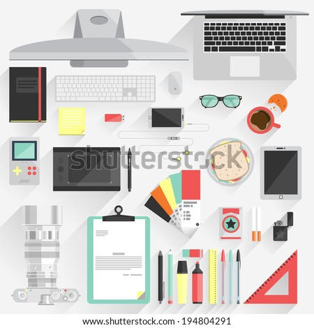 Flat modern design vector illustration concept of office workspace, workplace, desktop. Business work flow items, essentials, things, equipment, elements, objects, development tools. - stock vector