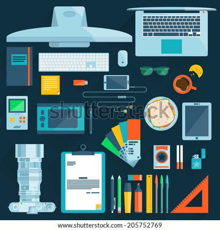 Flat modern design vector illustration concept of office workspace, workplace, desktop. Business work flow items, essentials, things, equipment, elements, objects, development tools - stock vector