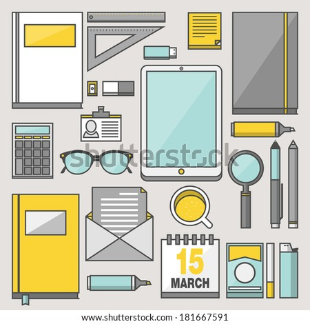 Flat modern design vector stylish stroke illustration concept with icons of office equipment and tools. Collection in stylish simple colors of business work flow items and elements. Workspace project - stock vector