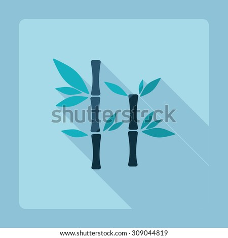 Flat modern design with shadow bamboo stems