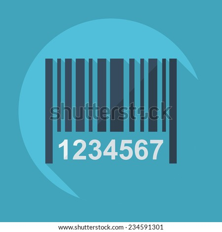 Flat modern design with shadow barcode - stock vector