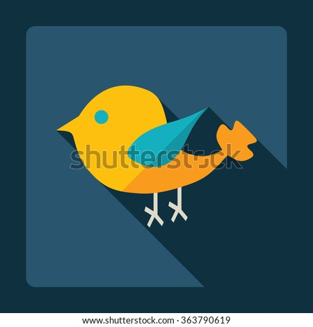 Flat modern design with shadow Icon  bird - stock vector