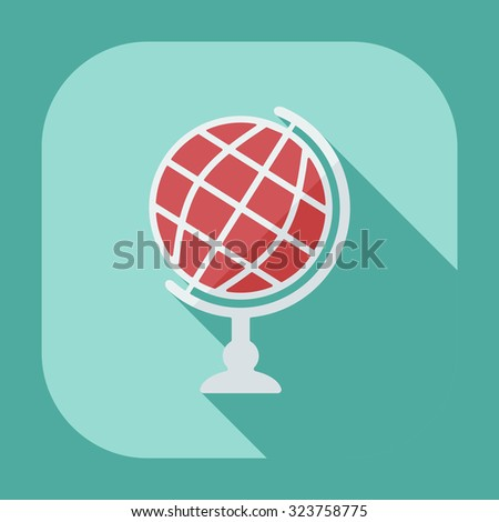 Flat modern design with shadow  Icon globe - stock vector