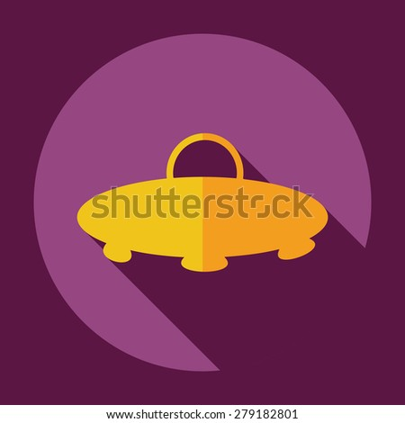 Flat modern design with shadow icon UFO - stock vector