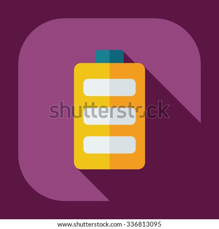 Flat modern design with shadow icons battery - stock vector