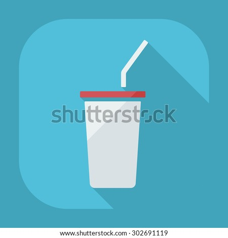 Flat modern design with shadow icons beverage