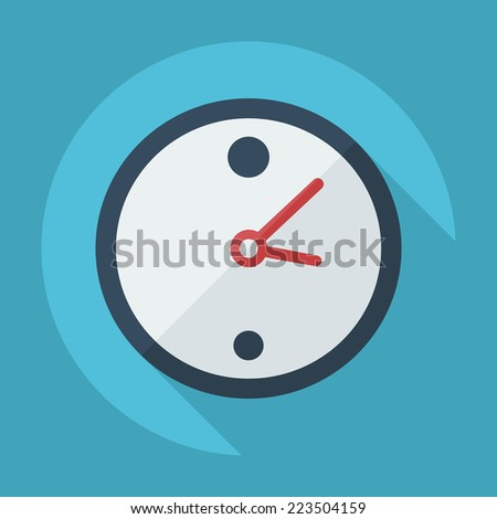 Flat modern design with shadow icons for web design and mobile applications, SEO. search Engine Optimization: wall Clock - stock vector