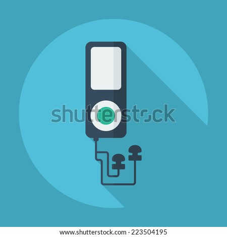 Flat modern design with shadow icons for web design and mobile applications, SEO. search Engine Optimization: mp3 player - stock vector