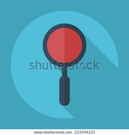 Flat modern design with shadow icons for web design and mobile applications, SEO. search Engine Optimization: magnifier - stock vector