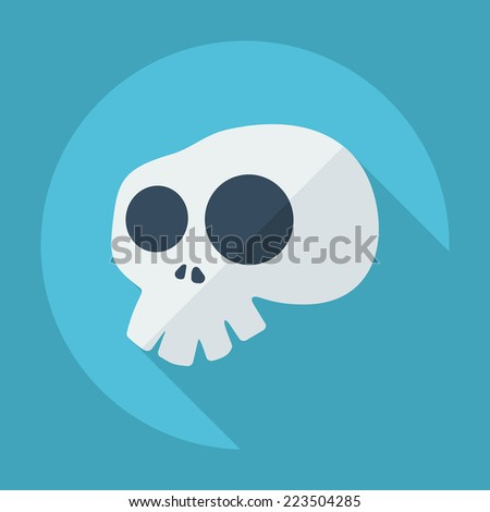 Flat modern design with shadow icons for web design and mobile applications, SEO. search Engine Optimization: skull - stock vector