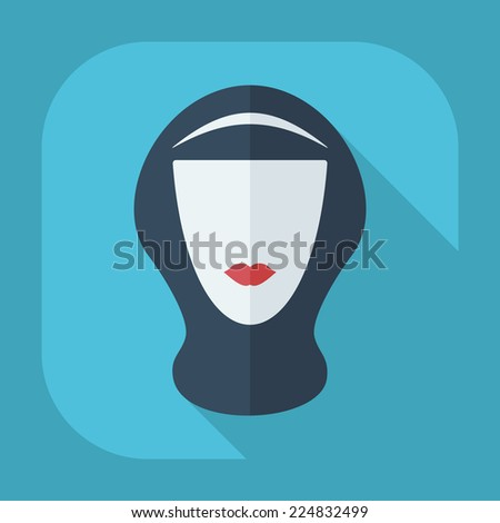 Flat modern design with shadow icons for web design and mobile applications, SEO. search Engine Optimization: eastern woman in niqab - stock vector
