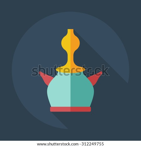 Flat modern design with shadow icons parts hookah
