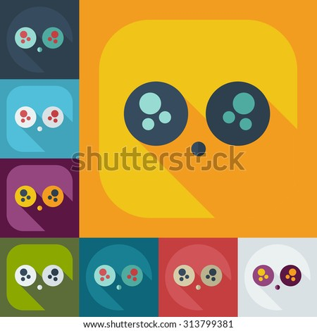 Flat modern design with shadow icons Sad smiley
