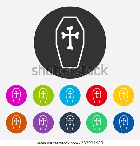 Flat modern design with shadow, SEO. Icons mobile applications and web design. Working optimization:  coffin - stock vector