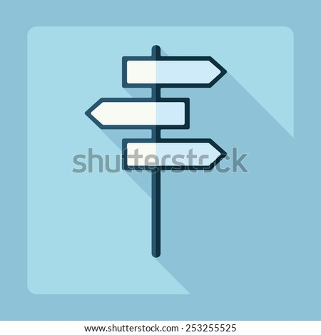 Flat modern design with shadow, signpost - stock vector
