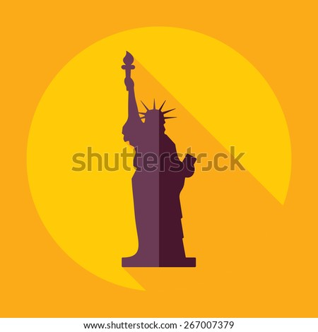 Flat modern design with shadow statue of liberty