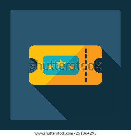 Flat modern design with shadow ticket to the cinema - stock vector