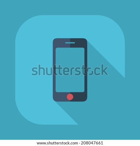 Flat modern design with shadow vector icons: mobile phone - stock vector
