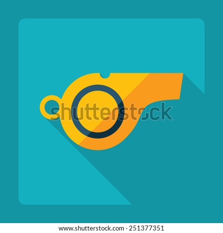 Flat modern design with shadow, whistle of the referee - stock vector