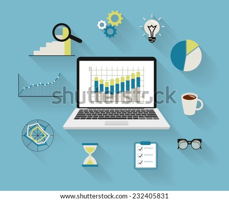 Flat modern illustration of analytics process with laptop and symbols on long shadows - stock vector