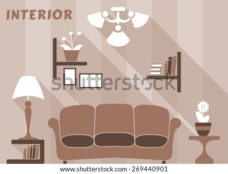 Flat modern interior of living room in white, beige and brown colors with bookshelves and pictures, sofa, bedside tables with lamp, flowers, chandelier for apartment design - stock vector