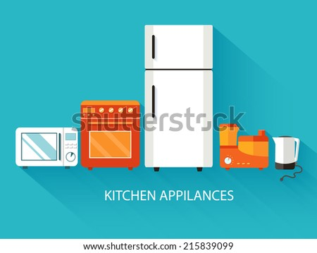 Flat modern kitchen appliances background concept. Vector illustration design - stock vector