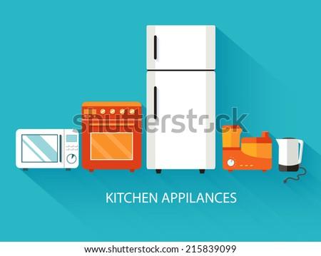 Flat modern kitchen appliances background concept. Vector illustration design - stock vector