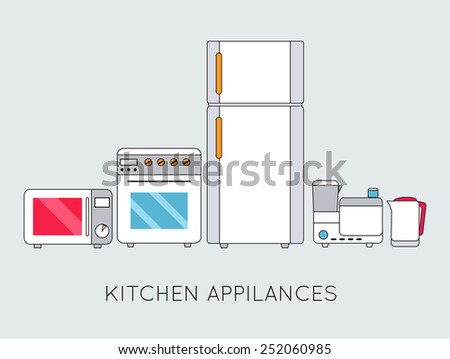 Flat modern kitchen appliances background concept. Vector illustration design. Thin lines outline style - stock vector