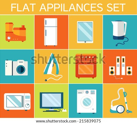 Flat modern kitchen appliances set icons concept. Vector illustration design - stock vector