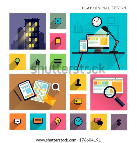 Flat Modern Lifestyle - Business Symbols vector illustration. - stock vector