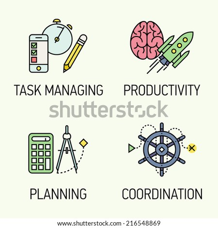 Flat modern vector creative productivity and project management concept design elements | Vector set of four flat line modern style icons on task management, productivity, planning and coordination - stock vector