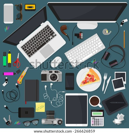 Flat modern vector design element set to create an images of workspace. - stock vector