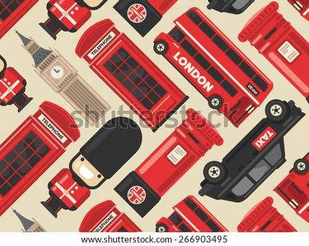 Flat modern vector London, the capital of Great Britain icon set - stock vector