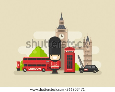 Flat modern vector London, the capital of Great Britain with Big Ben, bridge, double decker, black cab and telephone - stock vector