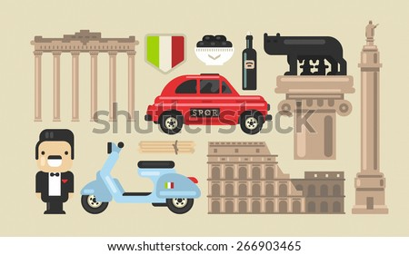 Flat modern vector Rome icons with Colosseum, Roman Forum and Capitoline Wolf - stock vector