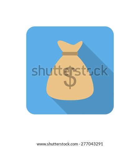 Flat money bag icon with long shadow. Vector illustration - stock vector
