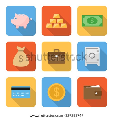 Flat money icons with long shadows. Vector illustration