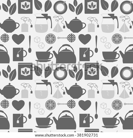 Flat monochrome tea icons seamless pattern. Illustration of grey flat monochrome tea icons  - stock vector