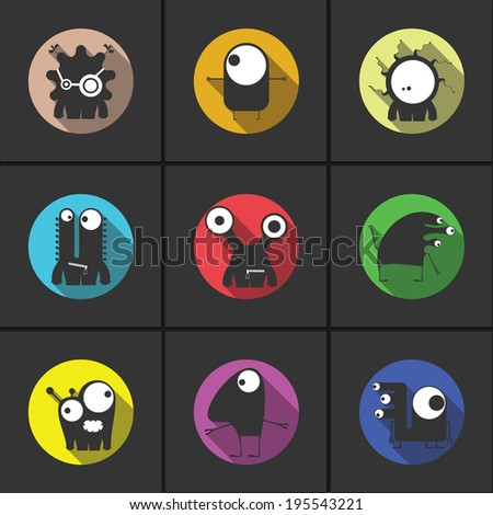 Flat monsters - vector set - stock vector